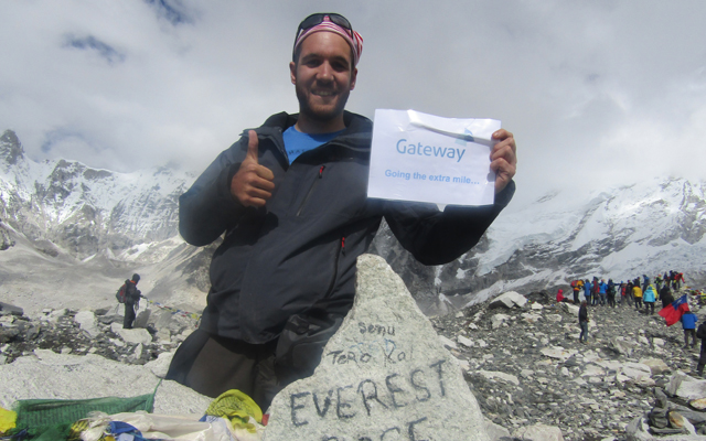 On top of the world: Lee conquers Everest's base camp